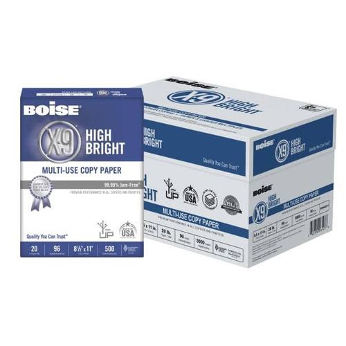 Boise X-9 Bright White Multi-Use Copy Paper  - 10 Ream Case - 5000 sheets