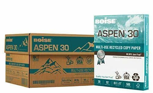 Boise Aspen Recycled Multi-Use Leter Size Copy Paper, 10 Ream Carton (5,000 Sheets)