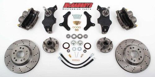 "Chevrolet Fullsize Car 1955-1957 13"" Front Cross Drilled Disc Brake Kit & 2"" Drop Spindles; 5x4.75 Bolt Pattern - McGaughys Part# 63255"