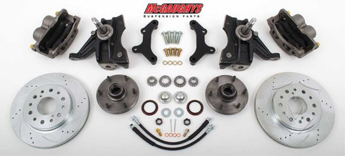 "GMC C-10 1963-1970 13"" Front Cross Drilled Disc Brake Kit & 2.5"" Drop Spindles; 6x5.5 Bolt Pattern - McGaughys Part# 63311"