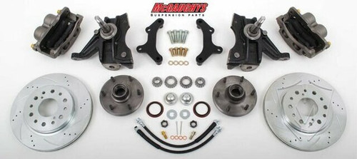 "GMC C-10 1971-1972 13"" Front Cross Drilled Disc Brake Kit & 2.5"" Drop Spindles; 6x5.5 Bolt Pattern - McGaughys Part# 63313"