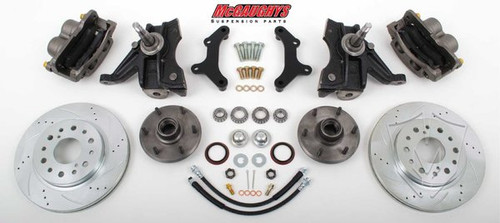 "Chevrolet C-10 1971-1972 13"" Front Cross Drilled Disc Brake Kit & 2.5"" Drop Spindles; 6x5.5 Bolt Pattern - McGaughys Part# 63313"