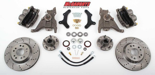 "Chevrolet Camaro 1970-1978 13"" Front Cross Drilled Disc Brake Kit & 2"" Drop Spindles; 5x4.75 Bolt Pattern - McGaughys Part# 64078"