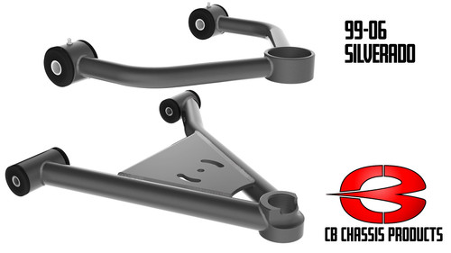 GMC Sierra 1500 2wd 1999-2006 Tubular Upper and Lower Control Arms For Air Suspension - Choppin Block Part# 1036