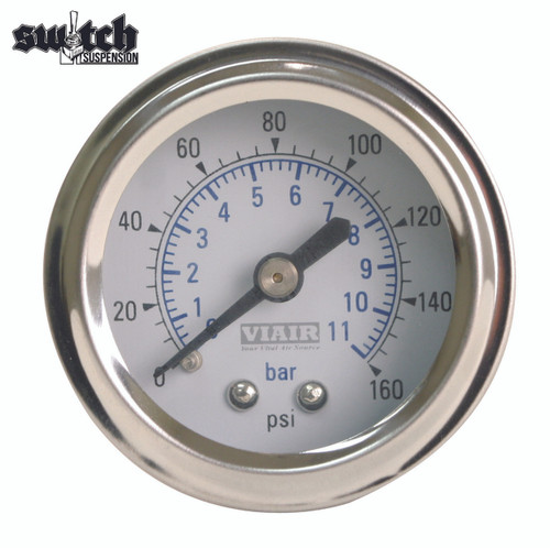 "Viair Single Needle 160 PSI 2.0"" Gauge White Face - 90087"