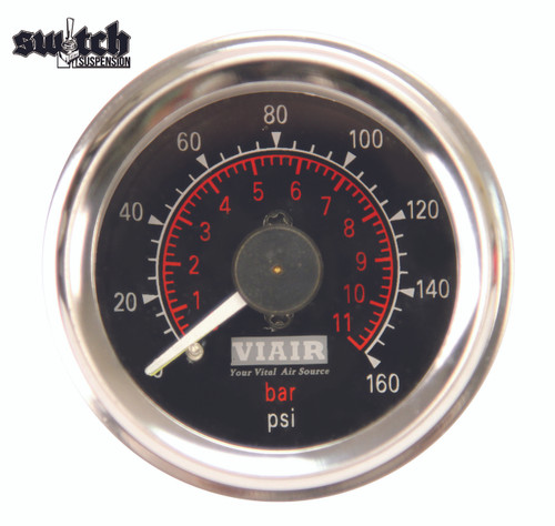 "Viair Dual Needle 160 PSI 2.0"" Gauge Black Face - 90082"