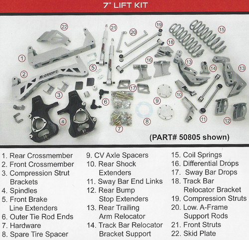 "GMC Denali 2015-2020 7"" McGaughys SS Lift Kit"