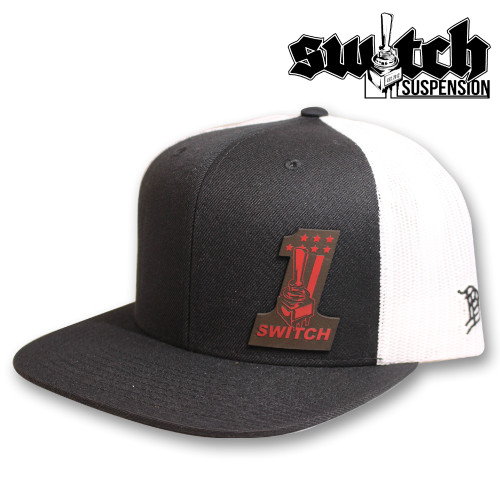 Switch ONE Leather Patch Fire Black and White Trucker
