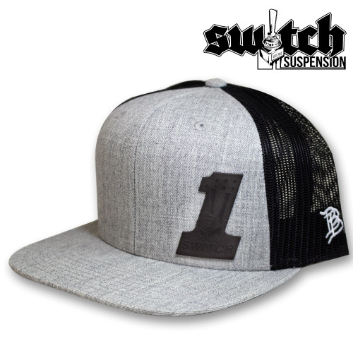 Switch ONE Leather Patch Heather and Black Trucker Hat