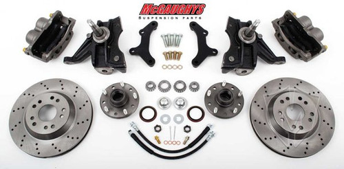 "Chevrolet C-10 1973-1987 13"" Front Cross Drilled Disc Brake Kit W/Drop Spindles; 5x5 Bolt Pattern  - McGaughys Part# 33157"