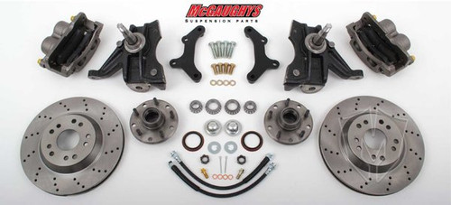 "GMC C-10 1973-1987 13"" Front Cross Drilled Disc Brake Kit W/Drop Spindles; 5x4.75 Bolt Pattern  - McGaughys Part# 33160"