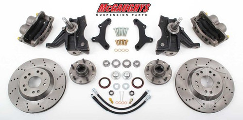 "Chevrolet C-10 1971-1972 13"" Front Cross Drilled Disc Brake Kit & 2.5"" Drop Spindles; 5x4.75 Bolt Pattern - McGaughys Part# 63154"