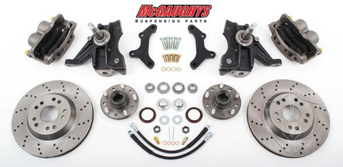 "GMC C-10 1971-1972 13"" Front Cross Drilled Disc Brake Kit & 2.5"" Drop Spindles; 5x5 Bolt Pattern - McGaughys Part# 63155"