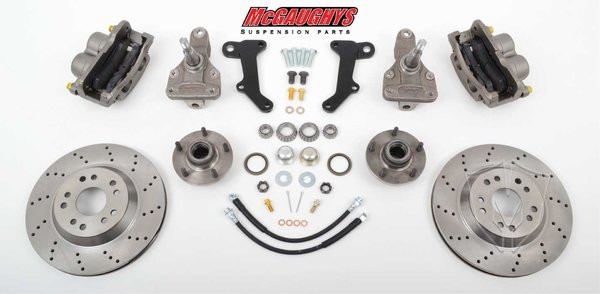 """Buick GS 1964-1972 13"""" Front Cross Drilled Disc Brake Kit & 2"""" Drop Spindles; 5x4.75 Bolt Pattern - McGaughys Part# 63236"""