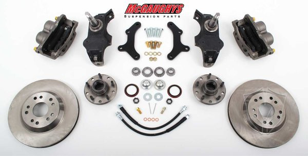 "Chevrolet Fullsize Car 1955-1957 13"" Front Disc Brake Kit & 2"" Drop Spindles; 5x4.75 Bolt Pattern - McGaughys Part# 63257"