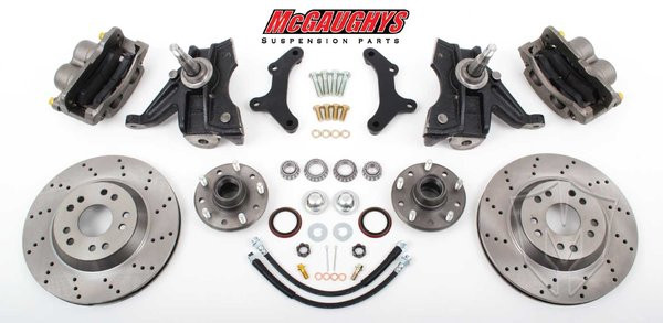 "Chevrolet C-10 1971-1972 13"" Front Cross Drilled Disc Brake Kit & 2.5"" Drop Spindles; 5x5 Bolt Pattern - McGaughys Part# 63155"