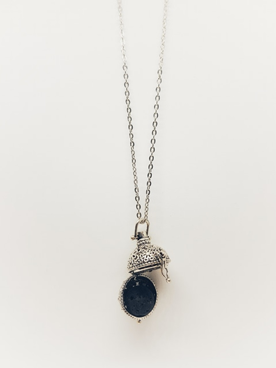 Antique Pendant with Lava Ball Necklace