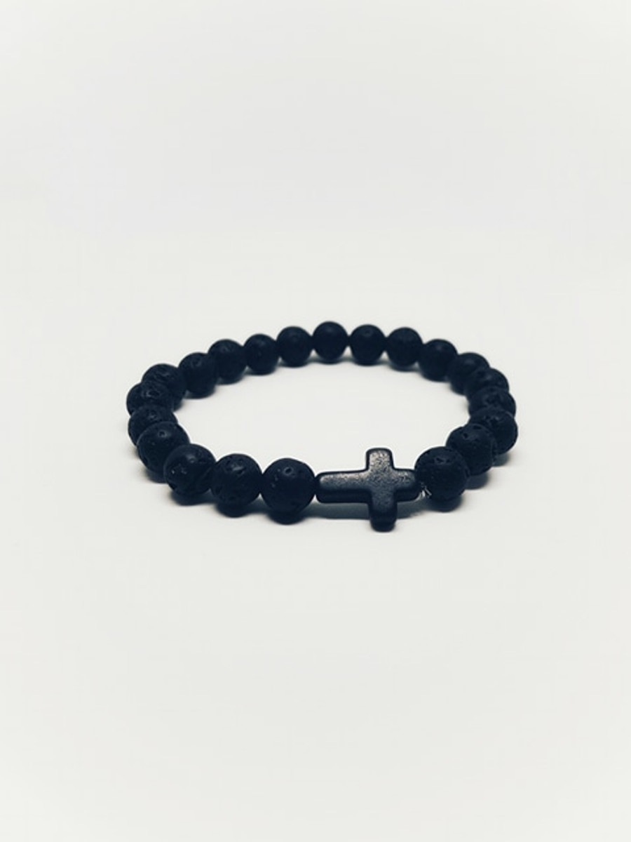 Lava Stone Cross Bracelet