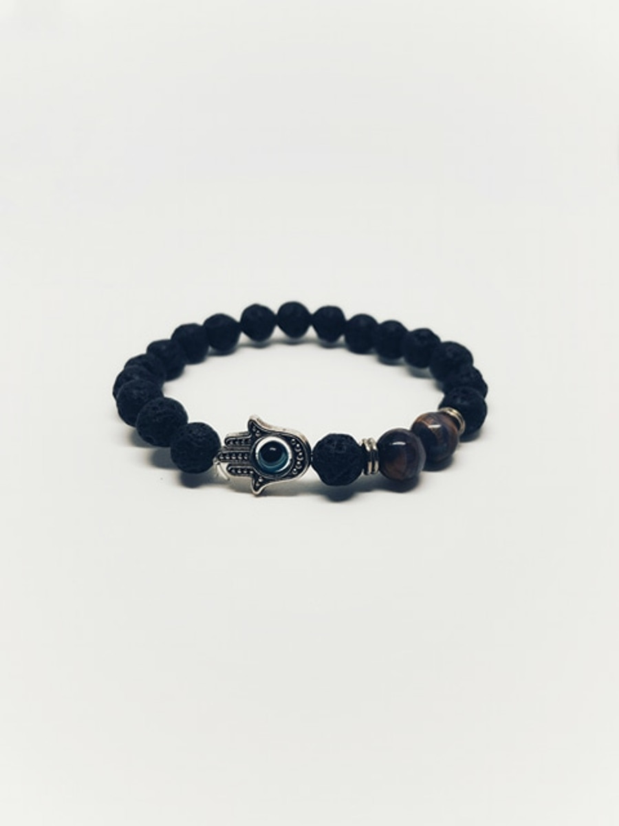 Lava Stone Tigers Eye Protective Bracelet