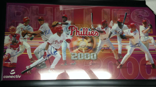 2000 Phillies Poster signed by All Pictured Framed