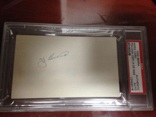 Yogi Berra Autographed 3 x 5 Card PSA Slabbed and Authenticated