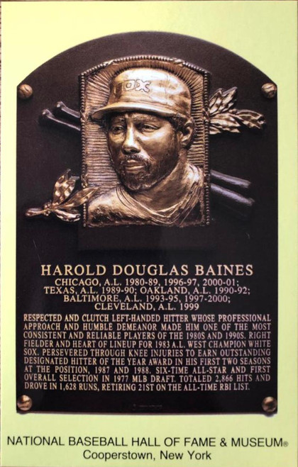Harold Baines Stamped and Canceled Hall of Fame Gold Plaque Postcard