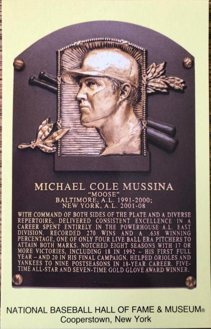 Mike Mussina Stamped and Canceled Hall of Fame Gold Plaque Postcard