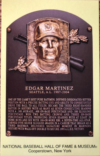 Edgar Martinez Stamped and Canceled Hall of Fame Gold Plaque Postcard