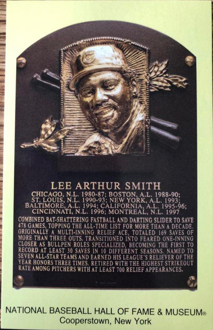Lee Smith Stamped and Canceled Hall of Fame Gold Plaque Postcard