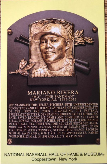 Mariano Rivera Stamped and Canceled Hall of Fame Gold Plaque Postcard