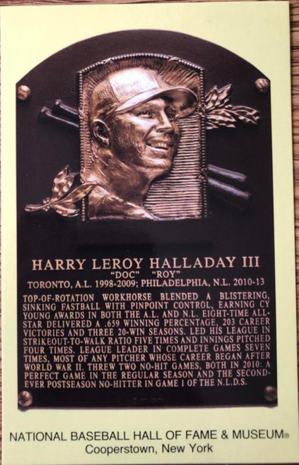 Roy Halladay Stamped and Canceled Hall of Fame Gold Plaque Postcard
