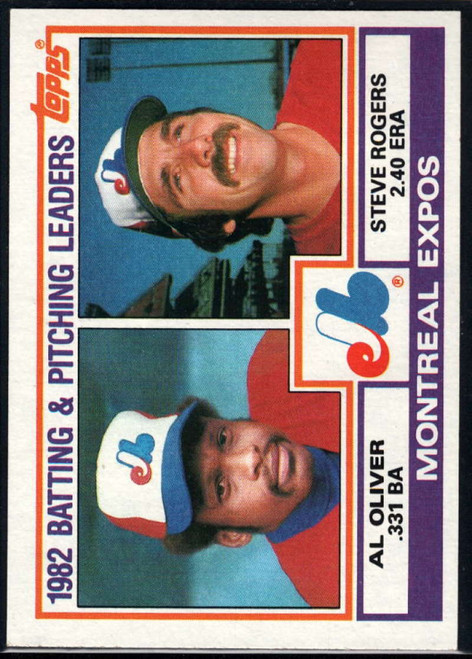 1983 Topps #111 Al Oliver/Steve Rogers Montreal Expos Batting & Pitching Leaders VG Montreal Expos