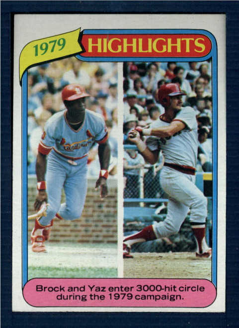 1980 Topps #1 Lou Brock/Carl Yastrzemski HL VG St. Louis Cardinals/Boston Red Sox