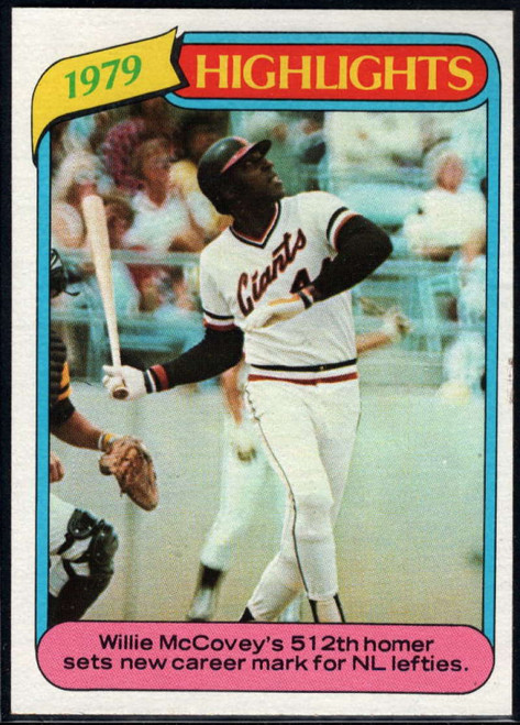 1980 Topps #2 Willie McCovey HL VG San Francisco Giants