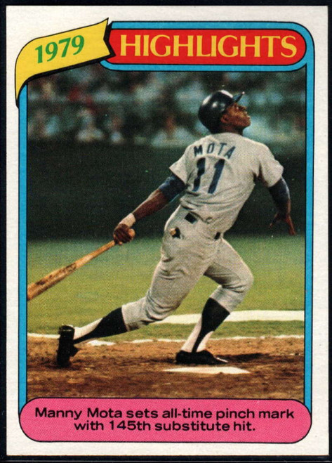 1980 Topps #3 Manny Mota HL VG Los Angeles Dodgers