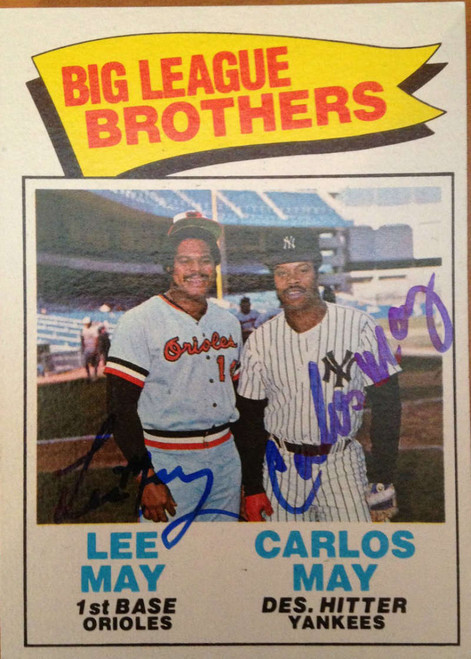 Big League Brothers Autographed 1977 Topps #633 Lee & Carlos May