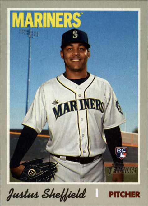 2019 Topps Heritage High Number #525 Justus Sheffield NM-MT RC Rookie Seattle Mariners