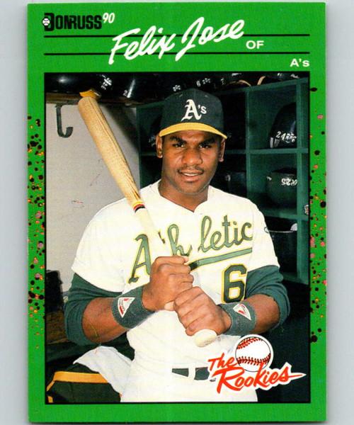 SOLD 31569 1990 Donruss Rookies #5 Felix Jose VG Oakland Athletics