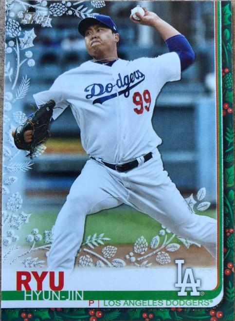 SOLD 78913 2019 Topps Holiday Metallic #HW90 Hyun-Jin Ryu NM-MT Los Angeles Dodgers