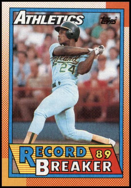 1990 Topps #7 Rickey Henderson RB VG Oakland Athletics