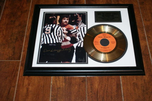 """Dave """"The Hammer""""Schultz Autographed 8 x 10 Photo & Gold 45 Record of The Penalty Box"""