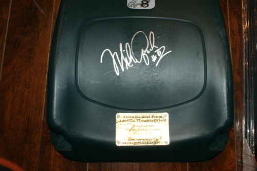 Mike Quick Autographed and Inscribed Lincoln Financial Field Seatback
