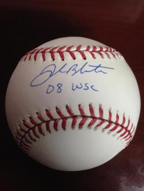 SOLD 2647 Joe Blanton Autographed ROMLB Baseball 08 W.S.C. Inscribed