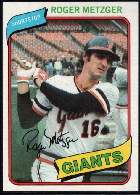 1980 Topps #311 Roger Metzger VG San Francisco Giants