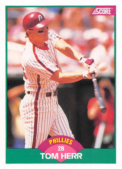 1989 Score Rookie/Traded #9T Tom Herr VG Philadelphia Phillies