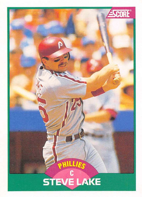 1989 Score Rookie/Traded #12T Steve Lake VG Philadelphia Phillies