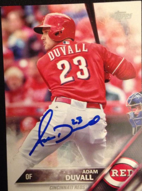Adam Duvall Autographed 2016 Topps #584 Rookie Card