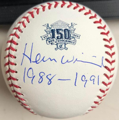 Herm Winningham Autographed Cincinnati Reds 150th Anniversary Baseball 1988-1991