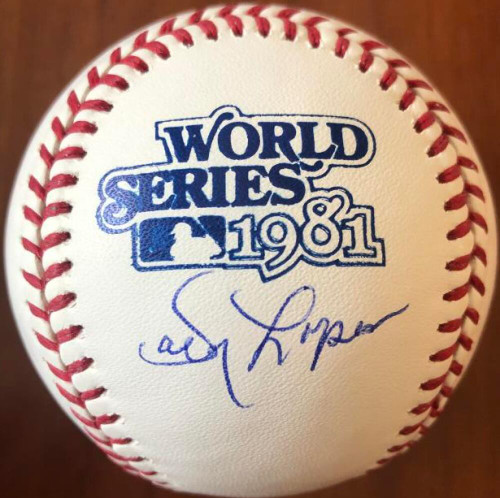 Davey Lopes Autographed 1981 World Series Baseball