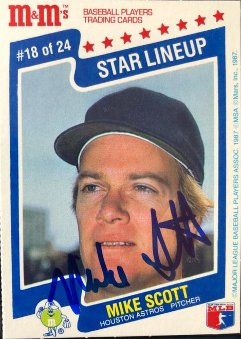 Mike Scott  Autographed 1987 M & M's Star Lineup #18